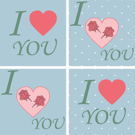 Set Happy valentines day and weeding cards. love design over background