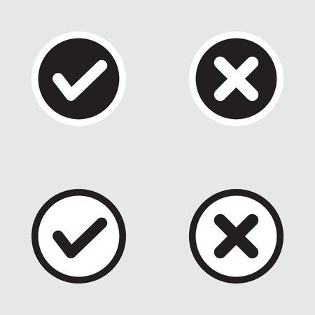 벡터 플랫 디자인 확인 표시 아이콘을 설정합니다. 틱과 십자가의 다양한 변형은 확인, 옳고 그른 선택, 작업 완료, 투표를 나타냅니다. 일러스트