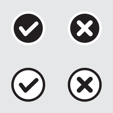 Vector Set van Flat Design vinkjes Icons. Verschillende varianten van Ticks en Bevestiging Crosses Vertegenwoordigt, Rechts en verkeerde keuzes, Task Completion, Stemmen.