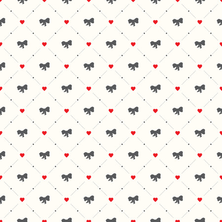 Vector seamless retro pattern, with bow tie and heart Stock Illustratie
