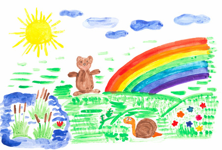 sun flowers: Child drawing colored with watercolor on paper, the sun, flowers, rainbow, bear.