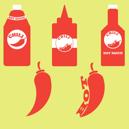 chili sauce: A set of bottles with hot sauce and chili peppers