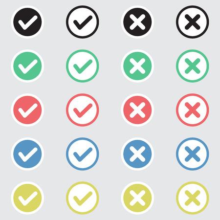 Ensemble de vecteur d'icônes de coches Design plat. Différentes variations de tiques et de croix représentent la confirmation, les bons et les mauvais choix, l'achèvement de la tâche, le vote.
