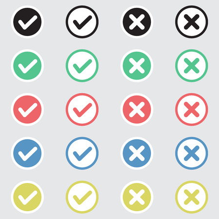 Vector Set of Flat Design Check Marks Icons. Different Variations of Ticks and Crosses Represents Confirmation, Right and Wrong Choices, Task Completion, Voting. Vectores