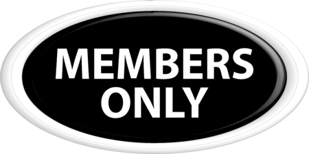 closed community: Button members only. The round shape. 3D. Vector illustration.