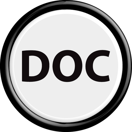 doc: Button DOC . The round shape. 3D. Vector illustration.