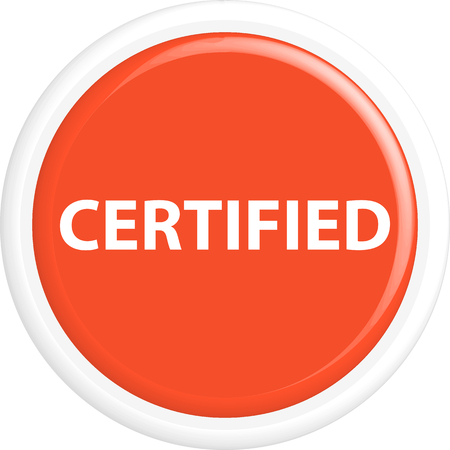 accredit: Button certified . The round shape. 3D. Vector illustration. Illustration