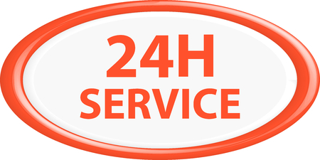 aftersale: Button 24h service. The round shape. 3D. Vector illustration.