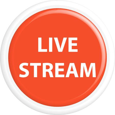 live stream button: Button live stream. The round shape. 3D. Vector illustration.