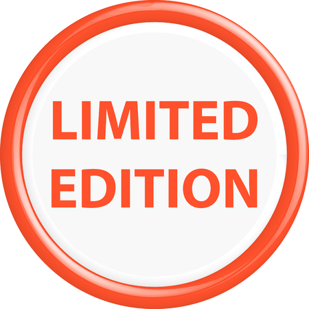 rarity: Button limited edition . The round shape. 3D. Vector illustration.