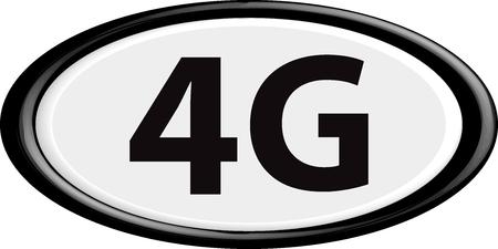 4g: Button 4G. The round shape. 3D. Vector illustration. Illustration