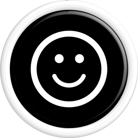 friendliness: Button smile. The round shape. 3D. Vector illustration.
