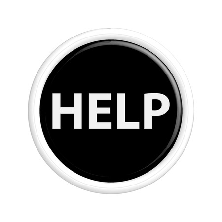 help button: Black; help button. .The round shape. 3D.