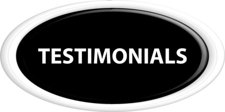 testimony: Button testimonials . The round shape. 3D. Vector illustration.