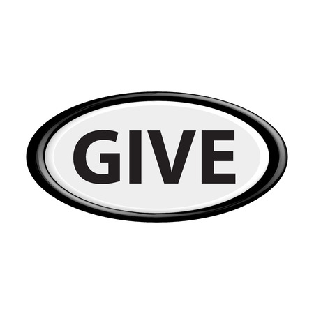 charity drive: Button give.The round shape. 3D. Vector illustration.