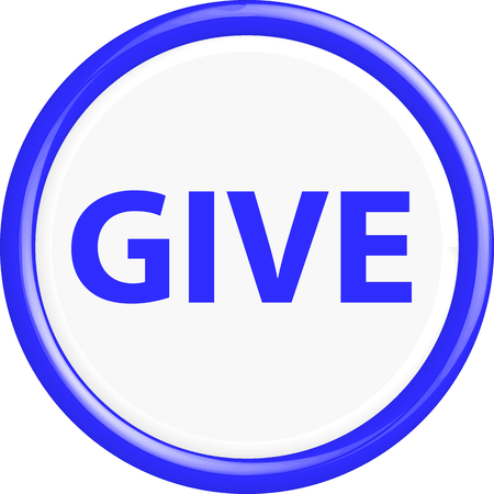 charity drive: Button give. The round shape. 3D. Vector illustration.