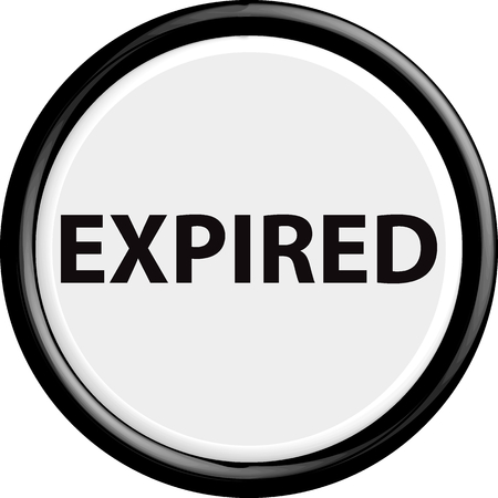 expired: Button expired. The round shape. 3D. Vector illustration.