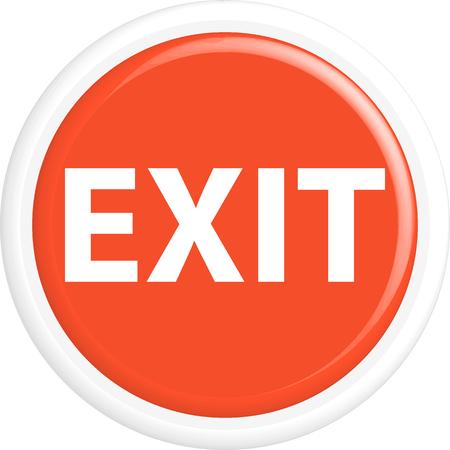 round button: Button exit . The round shape. 3D. Vector illustration. Illustration