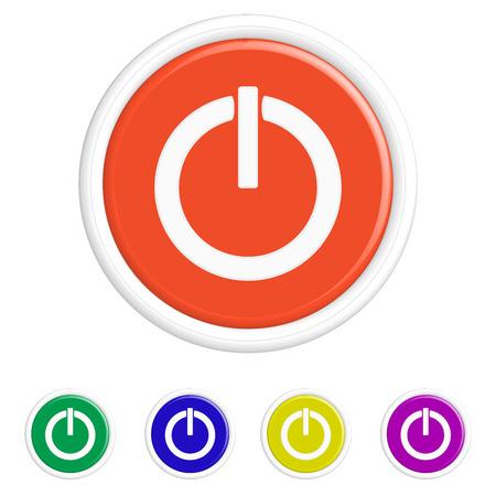power button: Round power button icon Set. Vector illustration