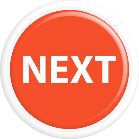 go forward: Button next. The round shape. 3D. Vector illustration.