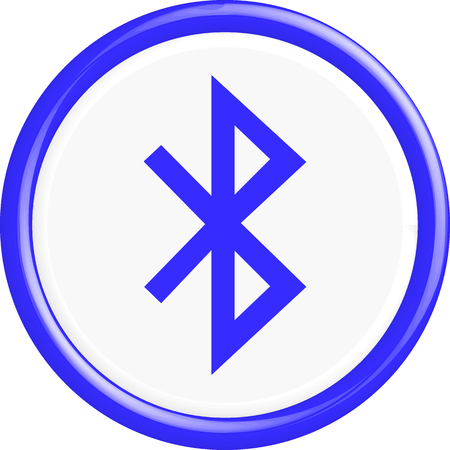 bluetooth: Button Bluetooth. The round shape. 3D. Vector illustration.