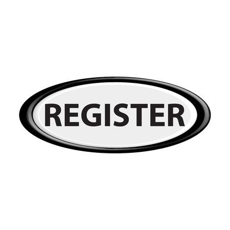 register button: Black register button. The oval shape. 3D.