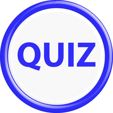 kwis: Button quiz. The round shape. 3D. Vector illustration. Stock Illustratie