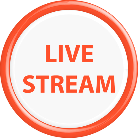 news cast: Button live stream. The round shape. 3D. Vector illustration.