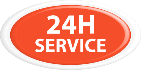 24h: Button 24h service. The round shape. 3D. Vector illustration.