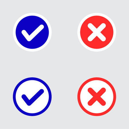 tick icon: Vector Set of Flat Design Check Marks Icons. Different Variations of Ticks and Crosses Represents Confirmation, Right and Wrong Choices, Task Completion, Voting. Illustration