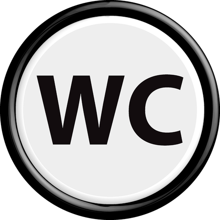 wc: Button wc. The round shape. 3D. Vector illustration.