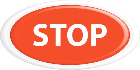 shut off: Button stop. The round shape. 3D. Vector illustration. Illustration