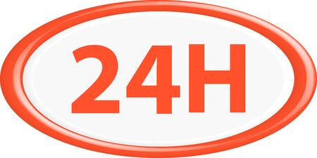 24h: Button 24h . The round shape. 3D. Vector illustration.