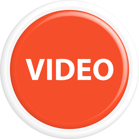 Button video. The round shape. 3D. Vector illustration.
