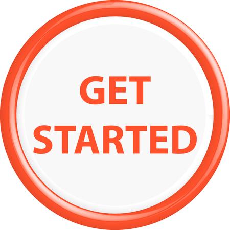 get in shape: Button get started . The round shape. 3D. Vector illustration. Illustration