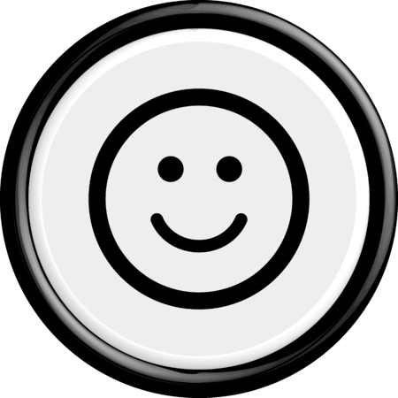 happy people white background: Button smile. The round shape. 3D. Vector illustration.