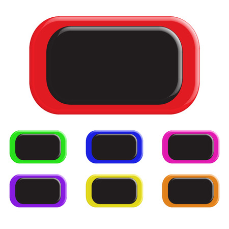 square shape: Set of colored buttons. In a rectangular shape. 3D. Vector illustration.