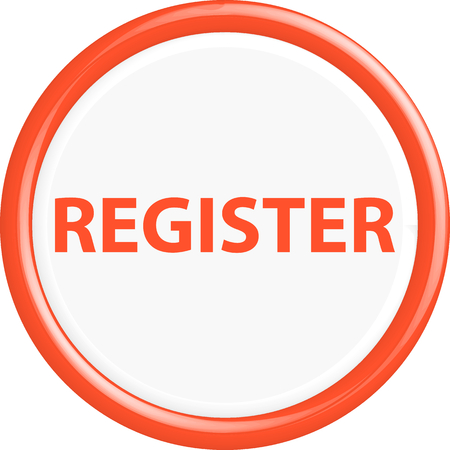 register button: Red register button. The oval shape. 3D.