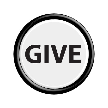 donation drive: Button give. The round shape. 3D. Vector illustration.