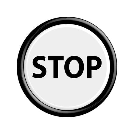 shut off: Butoon stop blackl 3d buttons. Vector illustration. Illustration