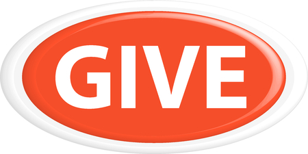 donation drive: Button give.The round shape. 3D. Vector illustration.