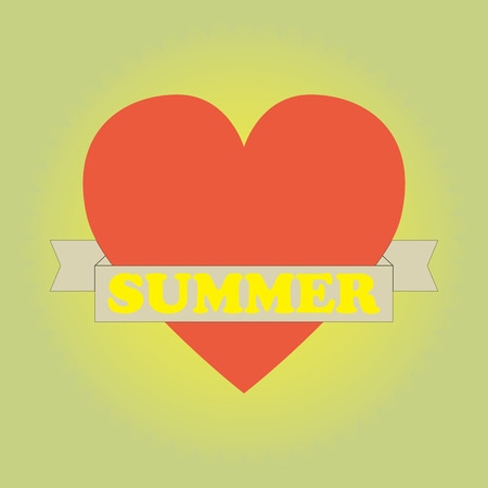 happy summer: Heart with banner . Happy summer. Vector illustration.