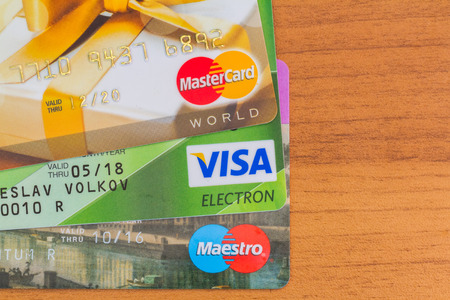 maestro: MOSCOW, RUSSIA-July 29, 2015: Credit cards Visa, Maestro, Mastercard.