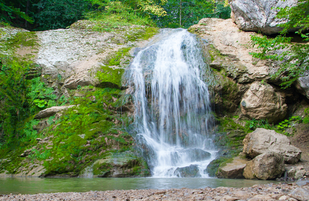 waterfall river: Waterfall in the mountains of the North Caucasus.