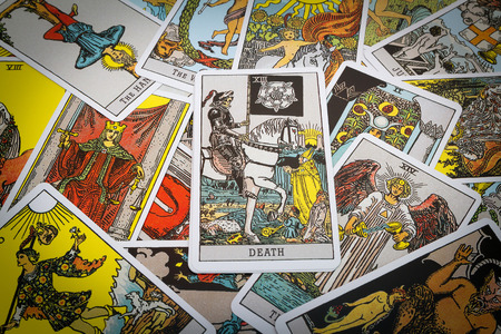 parapsychology: Tarot cards Tarot, the death card in the foreground. Stock Photo