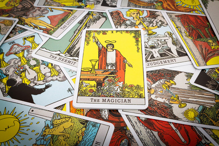 parapsychology: Tarot cards Tarot, the magician card in the foreground. Stock Photo