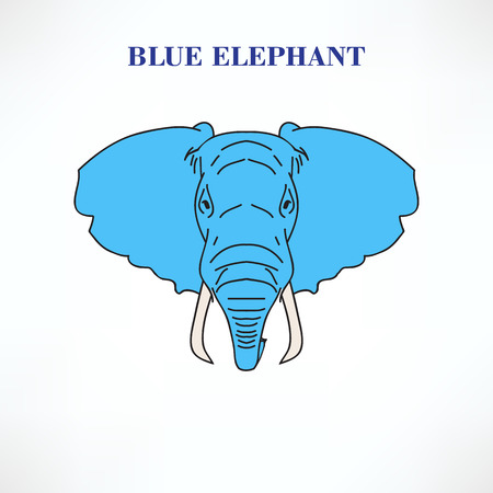 black mammoth: Head is big blue elephant isolated on white background