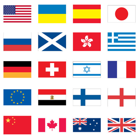 Set of 20 flags of different countries of the world. Vectores