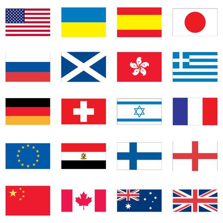 bandera rusia: Conjunto de 20 banderas de diferentes pa�ses del mundo.