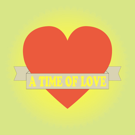 loveheart: A time of love.Heart with ribbon. Vector illustration.